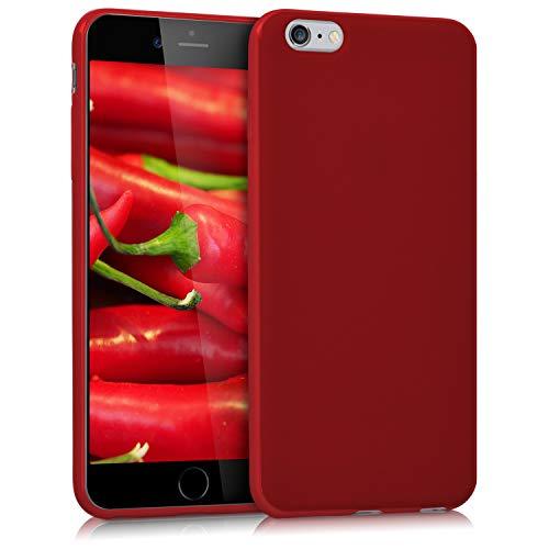 kwmobile Carcasa para Apple iPhone 6 Plus / 6S Plus - Funda para móvil en TPU Silicona - Protector Trasero en Rojo Mate