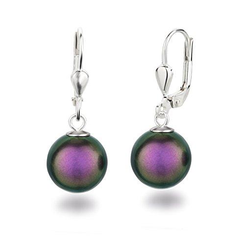 Schöner-SD Perlenohrringe Ohrhänger 925 Silber mit 10mm Perlen in Iridescent Purple