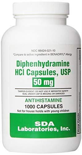 Diphenhydramine 50mg 1000 capsules per bottle 2 Pack