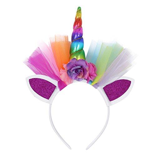 TiaoBug Enfant Fille Licorne Serre-tête aux Oreilles Chat Tulle Multicolore Bandeau Cheveux Coiffure Accesoire pour Costume de Carnaval Fantaisie Anniversaire Coloré Taille Unique