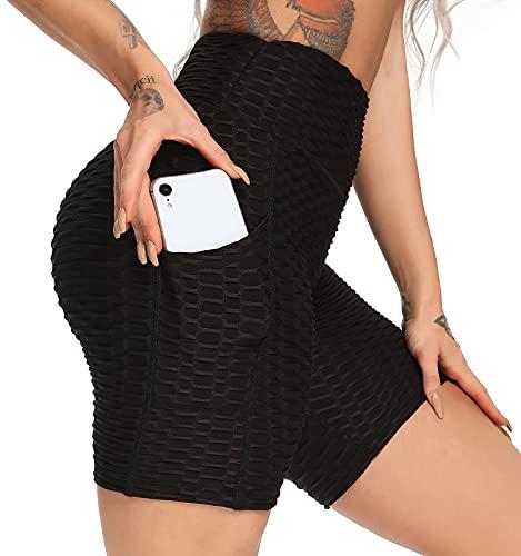 FITTOO Pantalones Cortos Deportivo Mallas Leggings Mujers Yoga Alta Cintura Elásticos Negro XL