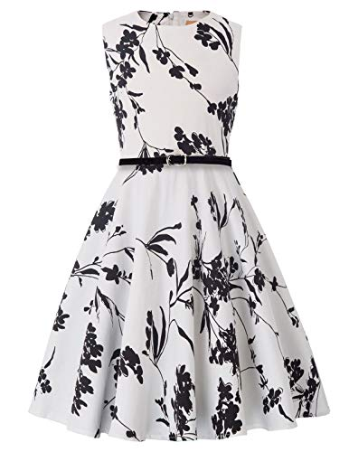 Girls Classy Vintage Floral Swing Kids Party Dresses 7-8yrs K250-25