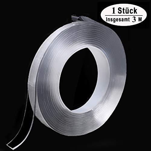 Spurloses Doppelseitiges Gel Klebeband Waschbares Transparent Nano Tape Anti-Rutsch Wiederverwendbare Klebstoff Klebeband Multifunktionales Abnehmbarer Durchsichtige Band (3 m lang, 1 cm breit)