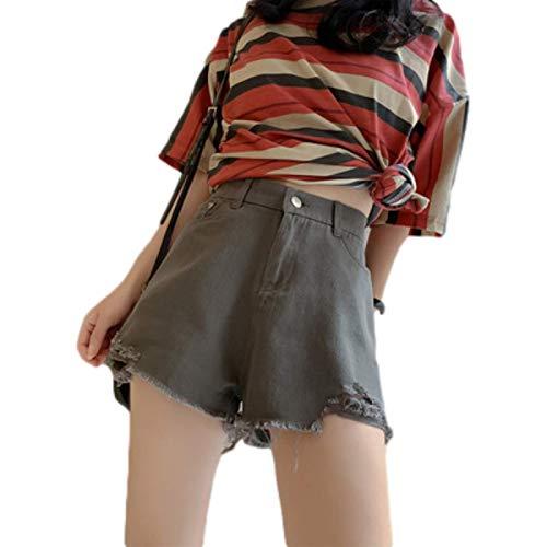 Pantalones Cortos de Mezclilla de piernas Anchas con Agujeros Rasgados de Cintura Alta Informales para Mujer Small
