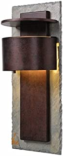 Kenroy Home Linterna LED, 19 Inch Height, 8 Inch Width, 6 Inch Extension, Natural Slate With Copper