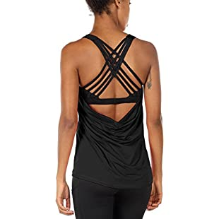 icyzone Yoga Tops Workout Clothes Activewear Built in Bra Tank Top for Women (L, Black)