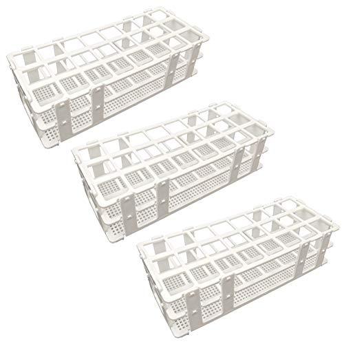 Pocomoco 3 Packs Plastic Test Tube Rack, 24 Holes Lab Test Tube Rack Holder for 25mm Test Tubes, White, Detachable (24 Holes)
