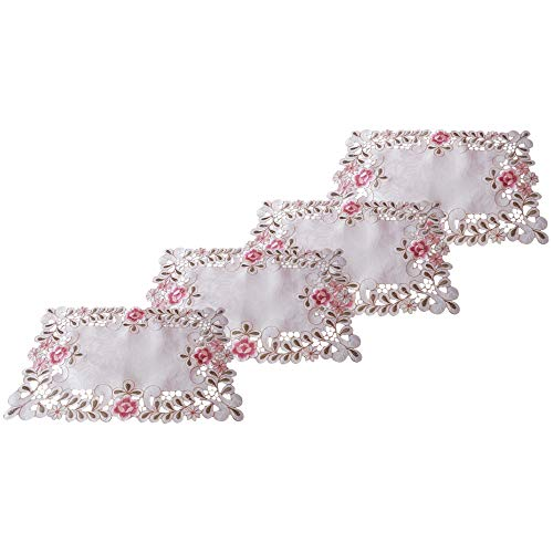 LINVINC Placemats 30x45cm - Tafelloper Roze Borduurwerk Bloemmotief - Decoratieve Modieuze Accessoires voor Thuis