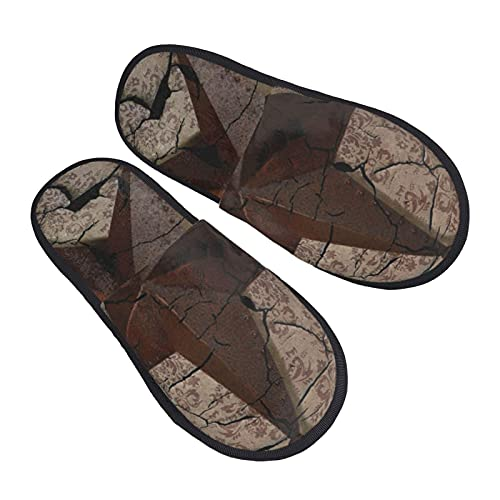 vintage rustic western country texas lone star Women's Plush Fuzzy Slippers Warm Anti Skid House Shoes for Indoor & Outdoor Fashion printed Slip on