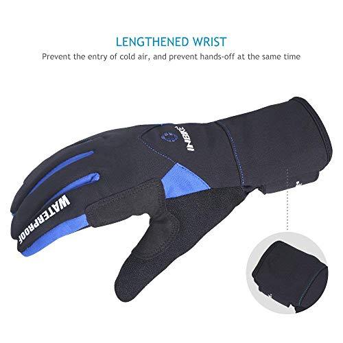 Inbike Fahrradhandschuhe Winter Thermo Gepolsterte Handfläche Radsport Gel Handschuhe Windddichte(Blau,L) - 6