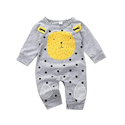 Livoral Baby Frühjahr Overalls Neugeborene Baby Mädchen Cartoon Bär Print Strampler Overall Outfits(Grau,12-18 Monate)