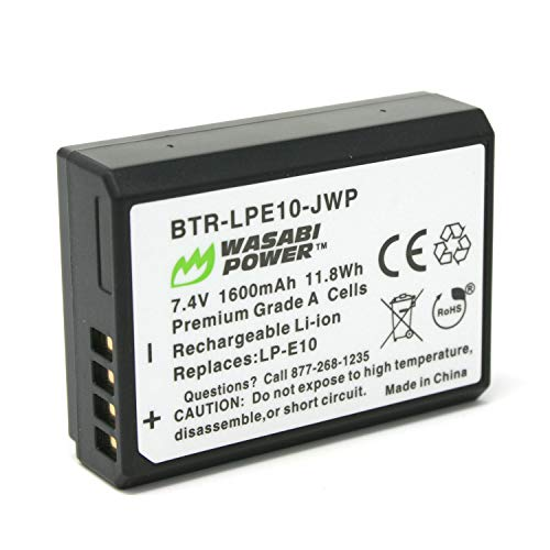 Wasabi Power Battery for Canon LP-E10 and Canon EOS 1100D, 1200D, 1300D, Kiss X50, Kiss X70, Rebel T3, Rebel T5, Rebel T6, Rebel T7