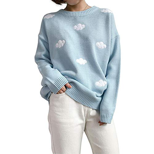 Women Kawaii Ulzzang Thick Vintage College Loose Sweater Cute Clouds Embroidery Knitted Pullover (Blue)