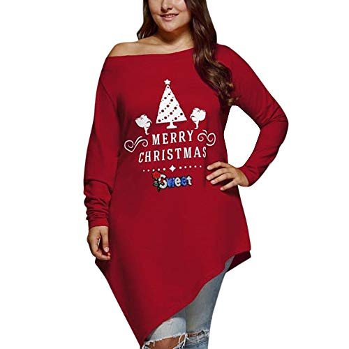 LODDD Merry Christmas Fashion Women Tops Casual Plus Size Skew Neck Letter Printed Asymmetrical T-Shirt Red