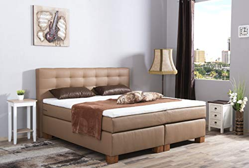 MeineMatratze24 Boxspringbett Alin | Direkt vom Hersteller | 7-Zonen Taschenfederkern-Matratze H2 / H3 / H4 und Topper Aufbau | Hotelbett Doppelbett | (200 x 200 cm)