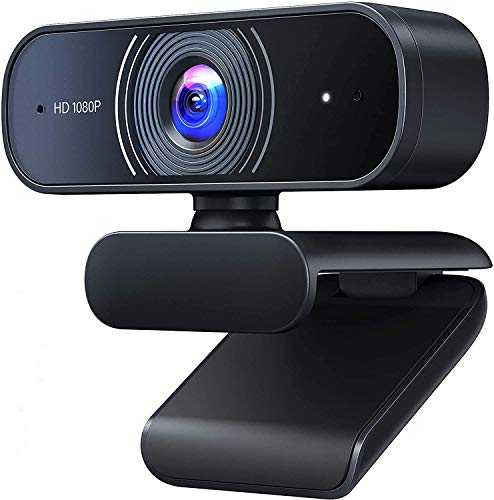 Roffie Webcam Full HD 1080p Video Web CAM Dual Micrófono Integrado PC portátil Escritorio cámara USB para videollamadas, grabación, conferencias, Estudio, Skype