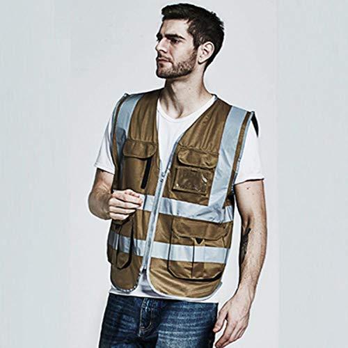 Vest Reflecterende Veiligheid Mannen Cargo Work Vest Multi Pockets Geel Zwart Veiligheid Vest Reflecterende Werkkleding Met Rits Logo afdrukken XL-Chest124cm kaki