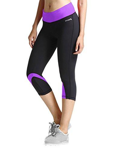 BALEAF Women's Yoga Running Workout Capri Legging Hidden Pocket Non See-Through Fabric Purple Size M
