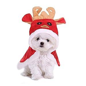 WikiMiu Manteau Chien Chat de Compagnie pour Noël, Vêtement Chaud d'Hiver pour Petits Chiens et de Taille Moyenne, Wapiti Cape en Coton