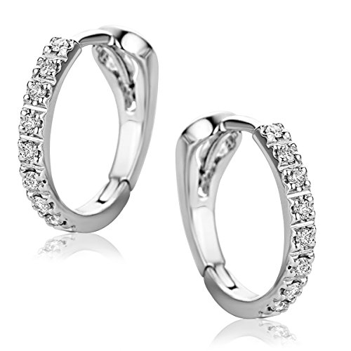 Orovi Pendientes Señora aros en Oro Blanco con Diamantes Talla Brillante 0.10 ct Oro 18 kt /750