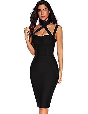 Meilun Womens Sleeveless Bodycon Dress Bandage Straless Dress