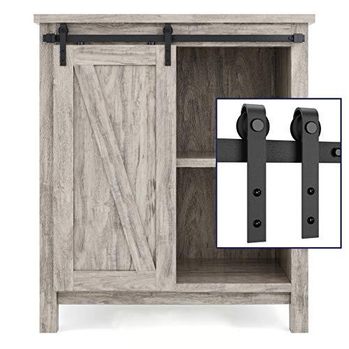 SMARTSTANDARD 3FT Super Mini Cabinet Sliding Barn Door Hardware Kit -Smoothly and Quietly -for TV Stand, Closet, Window -Fit 18' Wide Door Panel -J Shape Hanger (NO Cabinet)