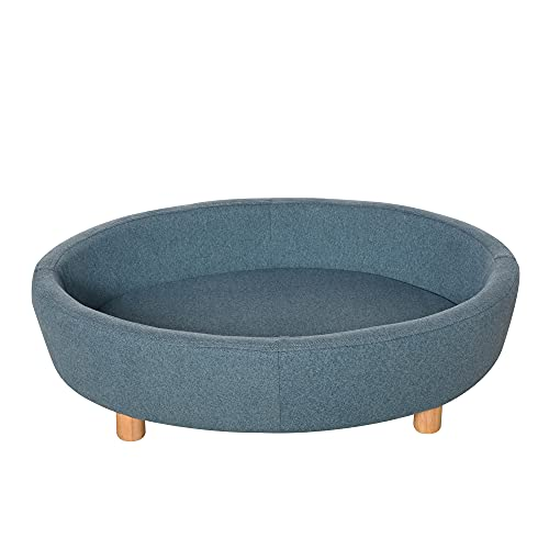 PawHut Pet Sofa Couch for Medium-Sized Dog Cushioned Bed Wooden legs, Light Blue 81cm x 61cm x 24cm Blue