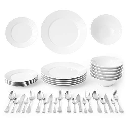 Slaouwo - Juego de vajilla de porcelana (18 piezas, para 6 y 20 piezas, acero inoxidable, para 4, vajilla de cocina, vajilla clásica redonda y platos blancos con cuchillo y tenedor de acero inoxidable