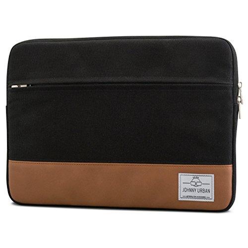 """Johnny Urban Custodia PC 14 Pollici/MacBook PRO 15"""" Nero-Marrone Borsa Portatile in Tela per Notebook da 14"""" e MacBook PRO 15"""" e dell XPS 15-14"""" Custodia di Cotone"""