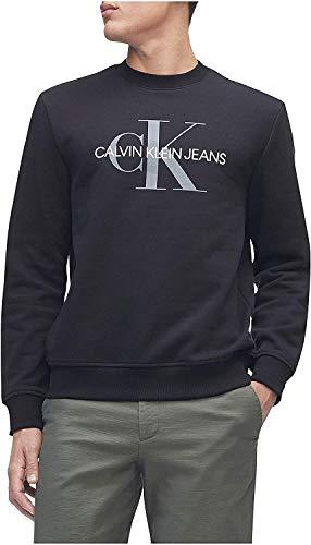 Calvin Klein Herren Monogram Logo Crew Neck Sweatshirt Hemd, Black Ck, Medium