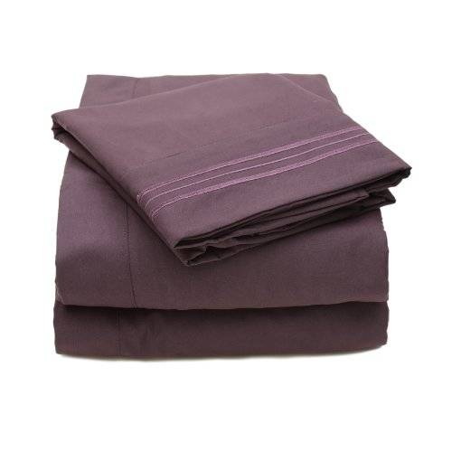 Sweet Home Collection 4 Piece 2000 12 Colors Collection Egyptian Quality Deep Pocket Bed Sheet Set, King, Purple