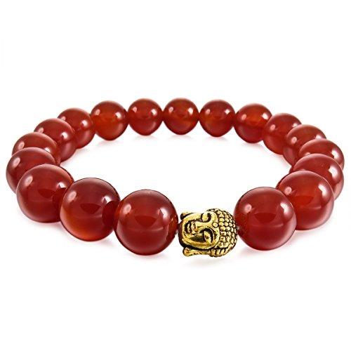 MunkiMix 12mm Aleación Pulsera Energía Eslabones Link Enlace Muñeca Rojo Ágata Budismo Budista Mala Bola Bead Elástico Hombre,Mujer