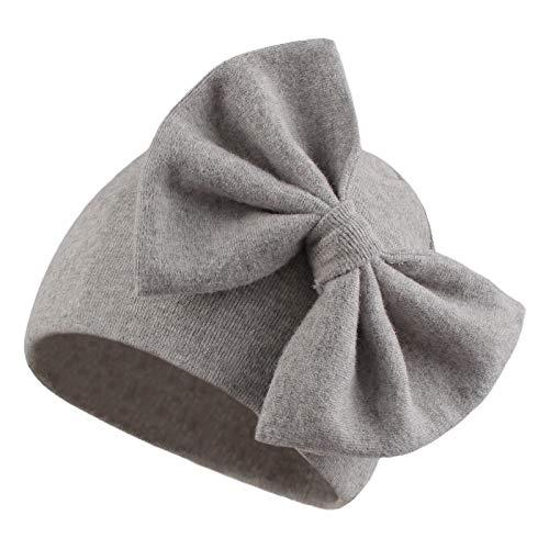 Pesaat Gorro para bebé niña con lazo, 100 % algodón, para bebés de 0 a 3 meses, primavera gris S