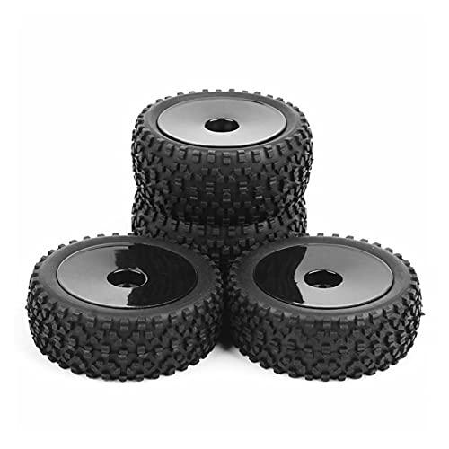 UJETML (H) Llantas de Barras 4pcs 1/10 neumáticos y Rueda de Buggy Delanteros y Traseros con hexágono de 12 mm para el automóvil Fuera de Carretera RC Ruedas y neumáticos hexagonales de 17 mm.