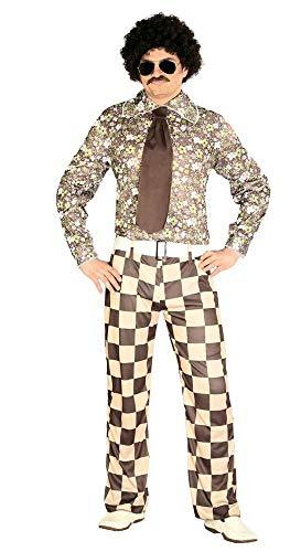 shoperama 60er 70er Jahre Retro Herren Disco Kostüm kariert Bad Taste Hemd Hose Krawatte Dancefloor Schlagermove Festival Blumen, Größe:L