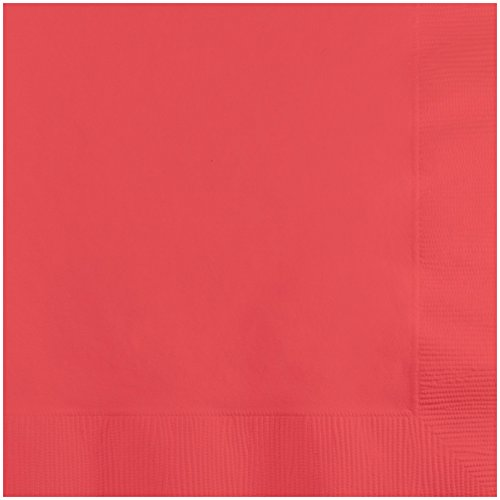 Creative Converting 573146B Personalized Coral Wedding Cocktail Napkins (50 Count), Coral