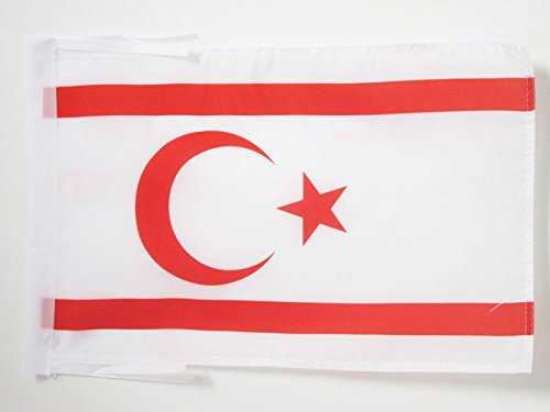 AZ FLAG Flagge TÜRKISCHE Republik NORDZYPERN 45x30cm mit Kordel - Nord-ZYPERN Fahne 30 x 45 cm - flaggen Top Qualität