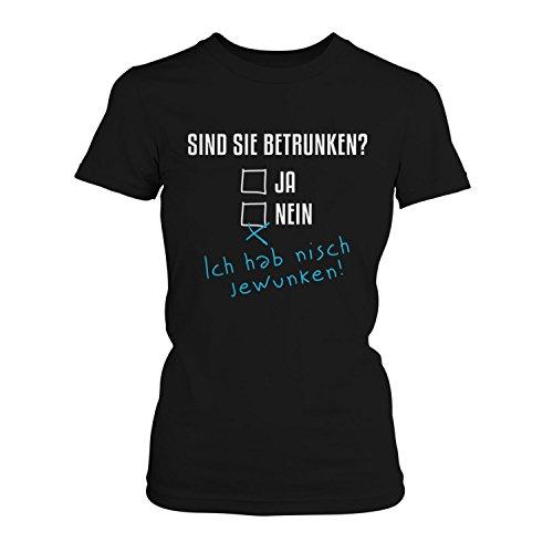 Fashionalarm Damen T-Shirt - Sind Sie betrunken | Fun Shirt mit lustigem Spruch zur Vatertag Herrentag Christi Himmelfahrt Party Alkoholtest Bier, Farbe:schwarz;Größe:3XL