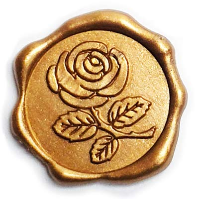 Adhesive Wax Seal Stickers 25Pk Rose - Pre-Made from Real Sealing Wax (Gold)
