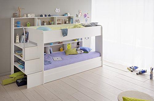 90×200 Kinder Etagenbett Weiß/grau mit Bettkasten Treppe und Geländer - 4