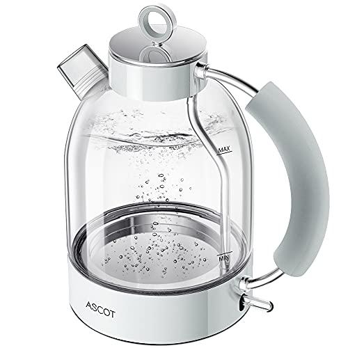 Wasserkocher Glas, ASCOT Elektrischer Wasserkocher Edelstahl, 2200W, 1,6L, Retro Design, BPA frei, leiser Schnellkochkessel, kabelloser Teekessel, Trockengehschutz und automatische Abschaltung (Weiß)