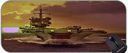 Cojín de ratón de Juego Grande, portaaviones Mar USDS Enterprise Warter Sun Puesta de Sol Ocean Boat Match Gaming Gran