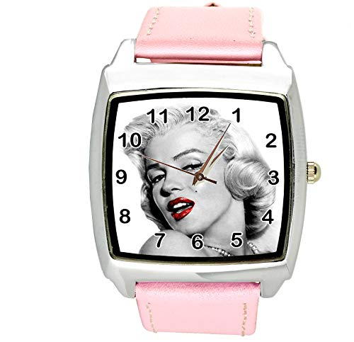 TAPORT Woman Watch Analogue Quartz with Leather Strap Marilyn Monroe Square Pink