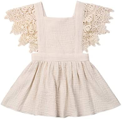 Toddler Baby Girl Infant Comfy Cotton Linen Lace Princess Overall Dress Sundress Beige 9 18 product image