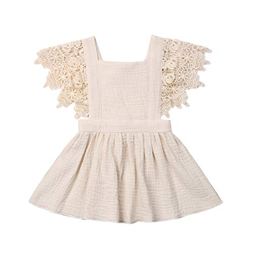 YQYJA Kleinkind Baby Mädchen Sommerkleid Ärmellose Plaid Print rückenfreie Spitze Kleid Baumwolle Freizeitkleider (Hellbraun, 9-18 Monate)