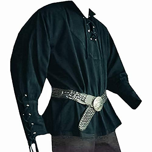 Mens Medieval Mercenary Scottish Costume Renaissance Jacobite Lace Up Pirate Wide Cuffs Costume Shirt Tops Green