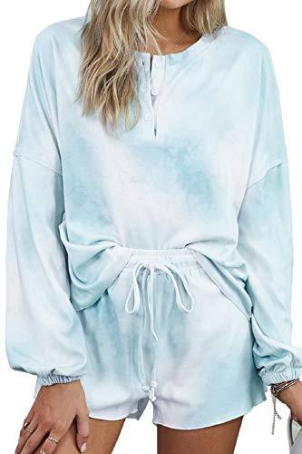 Tuopuda Pijamas Mujer Verano 2 Piezas Cómodo Tie Dye Manga Larga Camiseta...