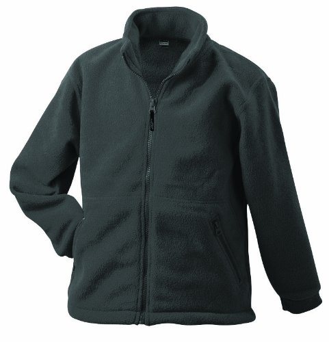 James & Nicholson Herren Full-Zip-Fleece Jacke, Grau (grau darkgrey), Large