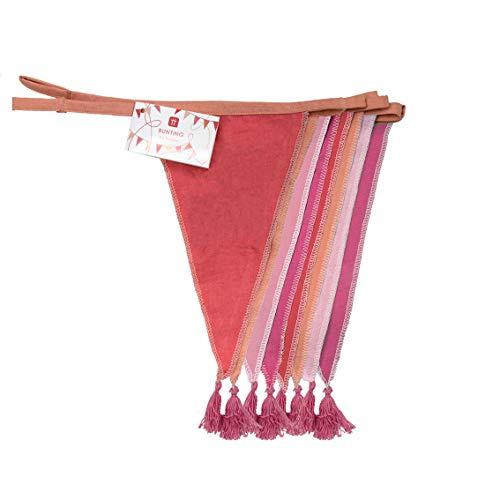 Banderines de tela rosa - 3m | Guirnalda de bandera triangular, 100% algodón, dormitorio de niñas, decoración del hogar, guardería, decoraciones de fiesta de cumpleaños de interior al aire libre