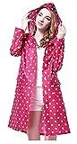 Chubasquero con capucha para mujer, respetuoso con el medio ambiente, impermeable, de poliéster con lunares rosa Talla única